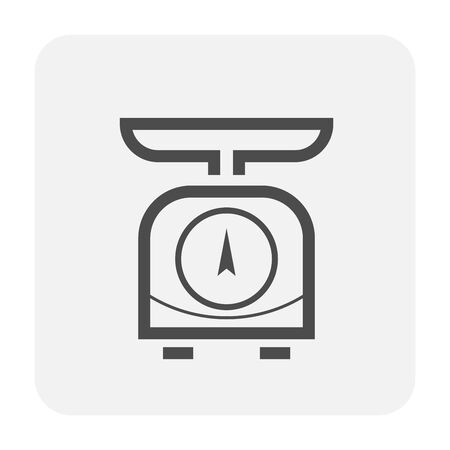 Weight scale icon design, black and outline.