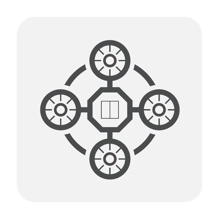 Drone and photography equipment icon design, black and outline.