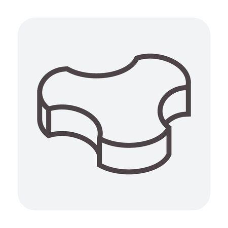 Concrete paver block floor icon