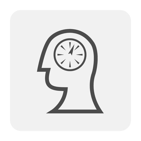 Emotion in head icon design, black and outline.
