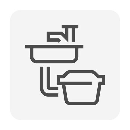 Sink and grease trap icon Ilustração