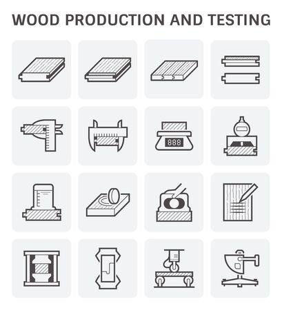 Wood timber testing and wood sawmill icon set design. Vektoros illusztráció