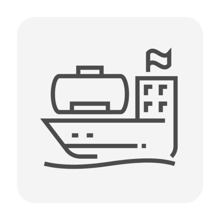 Tanker and gas shipping icon design, 64x64 perfect pixel and editable stroke.