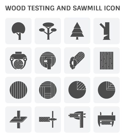 Wood timber testing and wood sawmill icon set design. Ilustracja