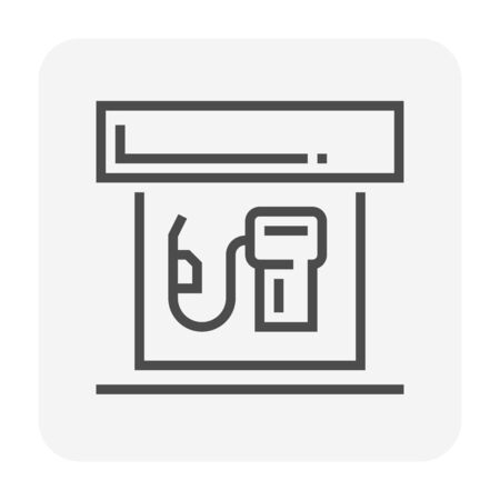 Gas station icon design, black color, 64x64 perfect pixel and editable stroke.
