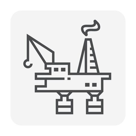 Oil rig icon design, editable stroke.