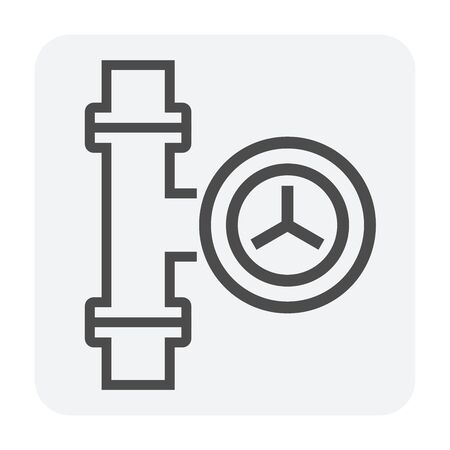Steel pipe connector and valve icon set, 64x64 perfect pixel and editable stroke. Ilustrace