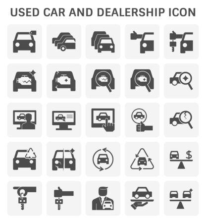 Conjunto de iconos de autos usados y concesionarios para el diseño de negocios de autos usados.