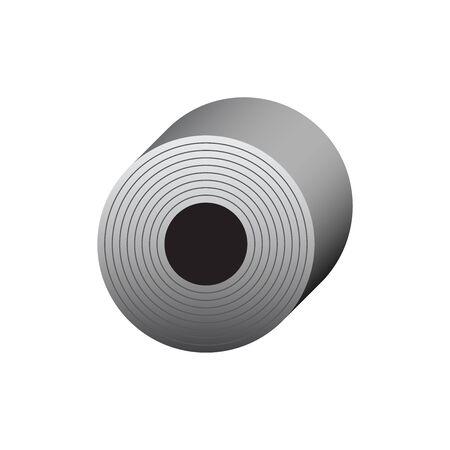 Icône de vecteur de conception d'icône de produit de rouleau d'acier pour l'élément de conception graphique industrielle de production d'acier.