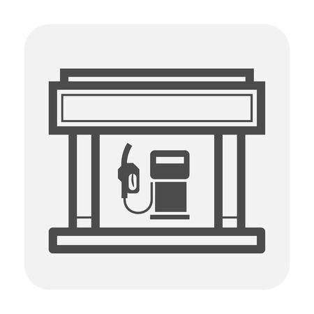 Gas station icon design, black color. Illustration