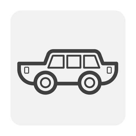 Classic car icon design, black and outline.