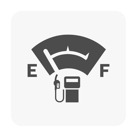 Petrol station and equipment icon on white.
