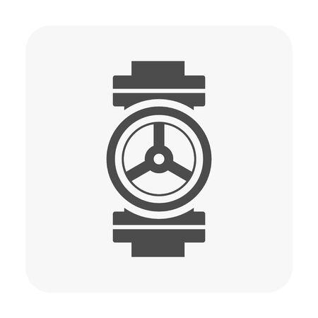 Pipe valve icon on white. black