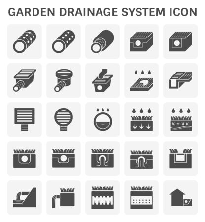 Garden drainage system and equipment icon set for landscaping work graphic design element.