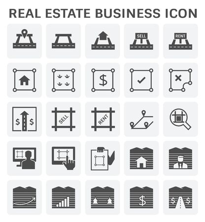 Real estate business and land investment icon set design.
