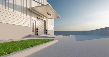 Representación 3D del edificio de la fábrica y la puerta del obturador para el fondo industrial. Foto de archivo