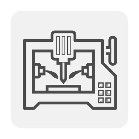 Cnc milling machine icon design, black and outline.