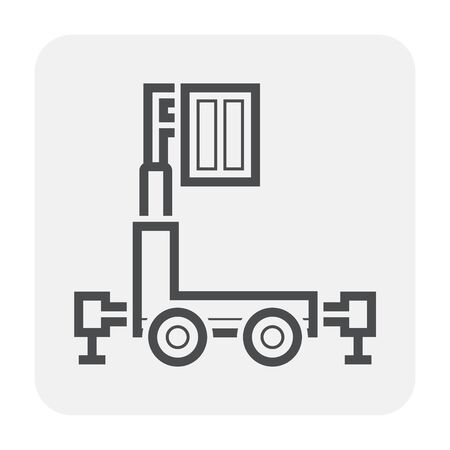 Personal lift icon design, black and outline.