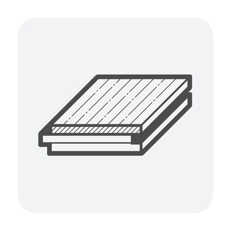 Wood floor pattern icon, black color. Ilustração