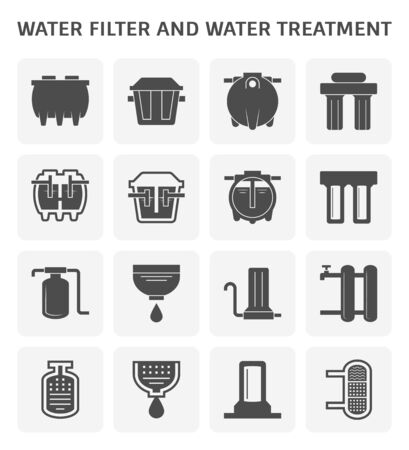 Water filter and water treatment equipment vector icon set design for water treatmenr industrial design.