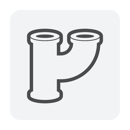 Pipe connector icon, black color.