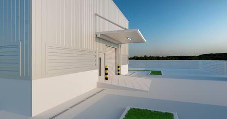 3d rendering of shutter door factory and concrete floor outside factory building.
