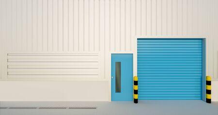 3D rendering of factory building and shutter door for industrial background. 写真素材