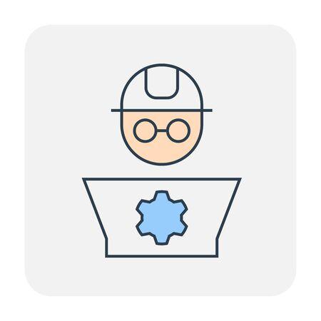Engineer and laptop icon design, editable stroke. Ilustração