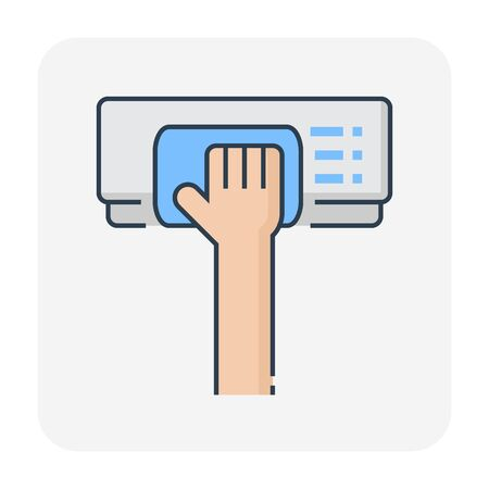 Air conditioner and cleaning work icon, editable stroke. Иллюстрация