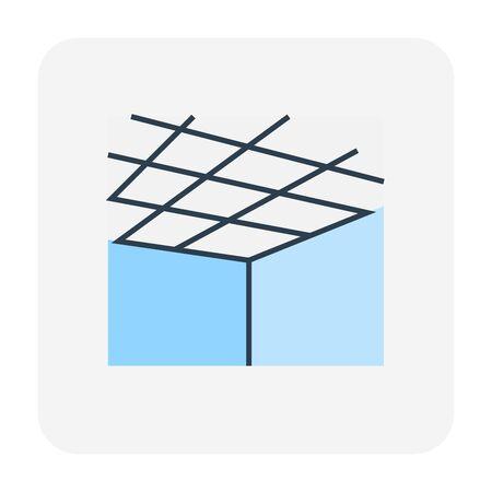 Lavoro a soffitto e icona del materiale, tratto modificabile. Vettoriali