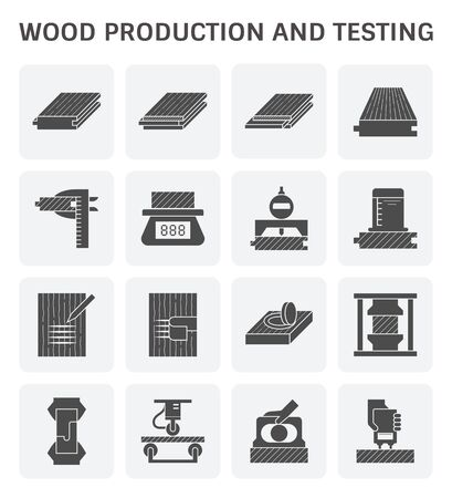 Wood timber testing and wood sawmill icon set design. Ilustração