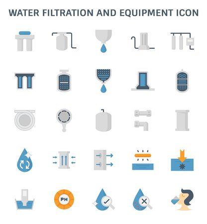 Diseño de icono de vector de equipo y filtración de agua para elemento de diseño gráfico de filtración de agua.