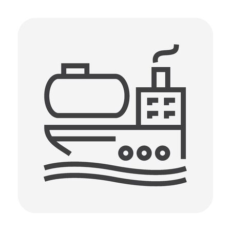 Oil and  gas tank and cargo ship vector icon design for transportation concept design, editable stroke. Banque d'images - 132939457