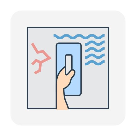 Waterproof and water leak repair icon, editable stroke.