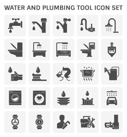 Wasserhahn und Wasser und Sanitärwerkzeug Vektor Icon Set Design Vector Illustration Vektorgrafik