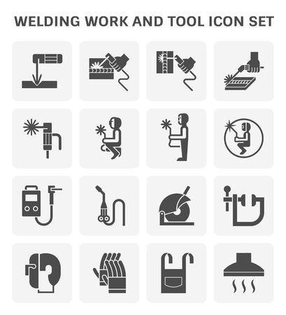 Prace spawalnicze i zestaw ikon narzędzi spawalniczych do spawania elementu graficznego.