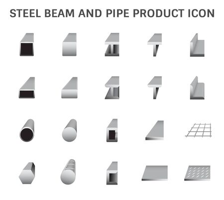 Vector icon of steel beam and pipe product icon set for steel production industrial graphic design element. Stock Illustratie
