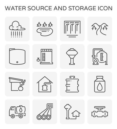 Water source and water storage and pipeline icon set design for water source and water storage and pipeline graphic design element, editable stroke.