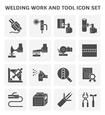 Schweißarbeiten und Schweißwerkzeug-Icon-Set zum Schweißen von grafischen Gestaltungselementen.