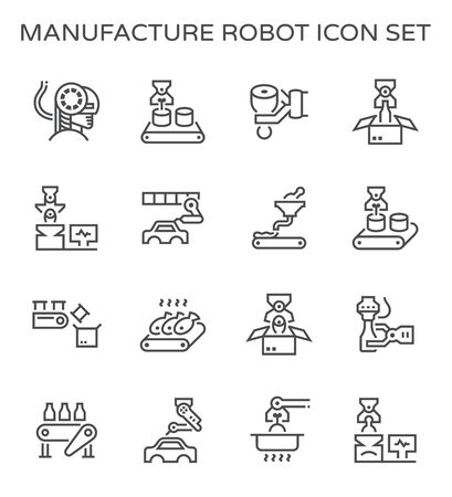 Robot and production industrial work vector icon design for production work graphic design element. Standard-Bild - 133542112