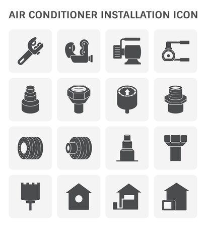 Air conditioner installation and tools vector icon set design.
