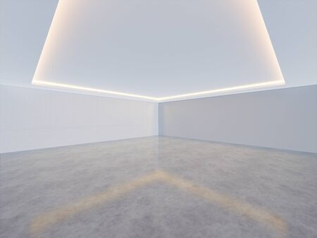 3D rendering of empty room with concrete floor and light from ceiling for background. 스톡 콘텐츠