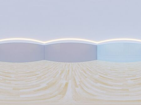 3D rendering of panorama of empty room with wood floor and light from ceiling for background. 스톡 콘텐츠
