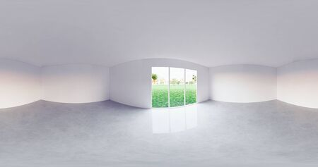 3d rendering of panorama of empty room with concrete floor for background.