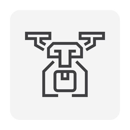 Drone and cargo box vector icon design for delivery service concept design, editable stroke. Illustration