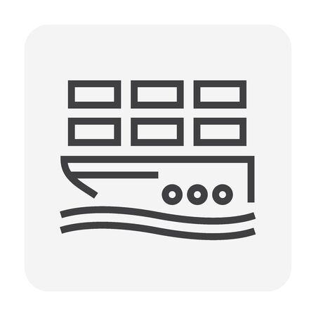 Cargo ship and cargo container vector icon design for shipping industrial concept design, editable stroke.