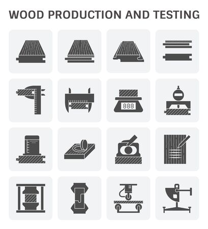 Wood timber testing and wood sawmill icon set design.