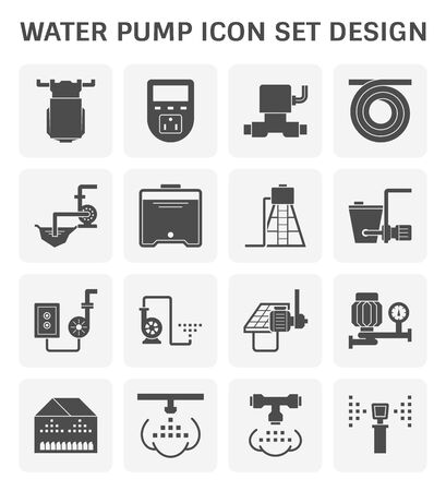 Electric water pump and automatic sprinkler system for agricultural graphic design element.