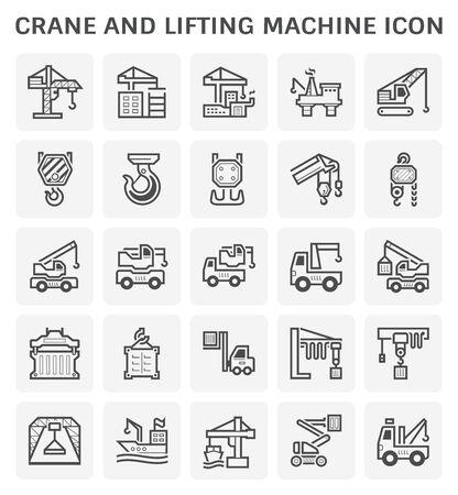 Ensemble d'icônes vectorielles de grue et de machine de levage.