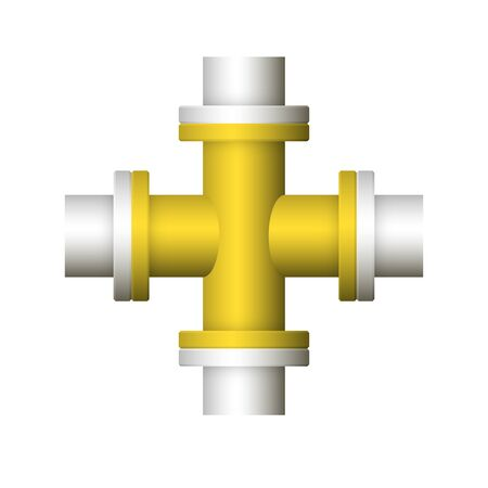 Steel pipe connector icon design isolated on white background. Ilustrace